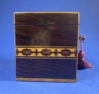 Victorian Rosewood Single Tea Caddy with Micro Mosaic Tunbridge Ware Inlay (8 of 11)