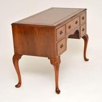 Antique Burr Walnut Leather Top Desk (4 of 10)