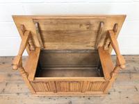 Antique Panelled Pale Oak Monk's Bench (m-2300) (5 of 9)