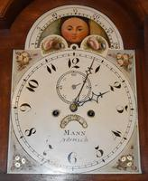 Lovely 19th Century Eight Day Mahogany Moon Rolling Longcase Clock by Mann of Norwich c.1810-1830 (6 of 10)