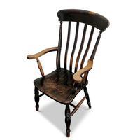 Antique Elm Lath Back Armchair (8 of 9)