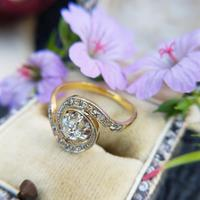 Antique French 18ct Gold Diamond Tourbillon Ring (2 of 7)
