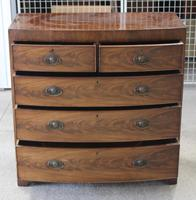 1880's Mahogany Bow Chest Drawers with Flame Veneer on the Drawers (4 of 4)