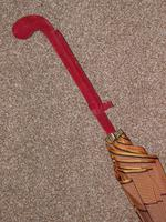 Antique Red / Orange Patterned Canopy Umbrella W/Red Velvet Handle & Canopy Cover (9 of 14)
