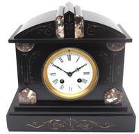 Fine Antique French Slate Mantel Clock - Bell Striking 8-day Mantle Clock c.1900 (2 of 12)