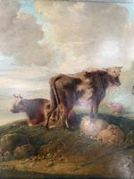 Antique Victorian landscape Oil Painting with Cows Sheep & Milkmaid (4 of 10)
