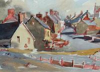 Original Vintage North Wales Coastal Village Landscape Watercolour Painting (8 of 12)