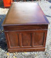 1960s Mahogany Pedestal Desk Brown Leather (5 of 5)