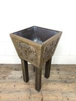 Carved Oak Plant Stand with Metal Liner (4 of 7)