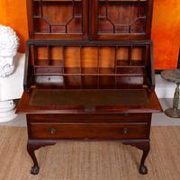 Secretaire Bureau Bookcase Astragal Glazed Mahogany Library Cabinet Edwardian (14 of 14)