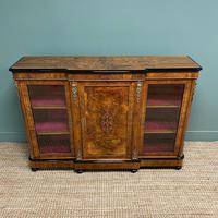 Spectacular Figured Walnut Victorian Break Fronted Antique Credenza (9 of 10)