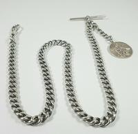 Beautiful Solid Silver Henry Allday Double Link Albert Chain & T BAR (11 of 12)