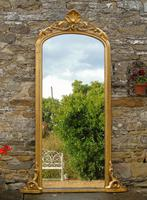 Large Antique French Arched Gilt Mirror of Unusual Size