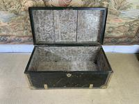 Early 19th Century Green Leather & Brass Bound Traveling Trunk (5 of 5)