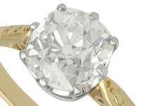 1.96ct Diamond & 18ct Yellow Gold, Platinum Set Solitaire Ring - Antique c.1910 (3 of 9)