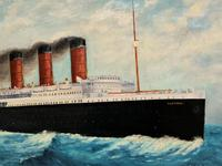 Huge Stunning Antique Seascape Oil Painting of Cunard's RMS Lusitania Ship c.1918 (10 of 16)