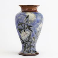 Royal Doulton Stoneware Tubelined Vase with Verse by Bessie Newbery c.1910
