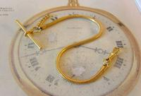 Vintage Pocket Watch Chain 1970s 12ct Gold Plated Snake Link Albert With T Bar (4 of 7)