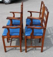 1960's Set 4 Oak Carver Dining Chairs with Blue Leather Pop Out Seats (3 of 4)