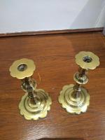Pair of Georgian Brass Petal Based Candlesticks (3 of 3)