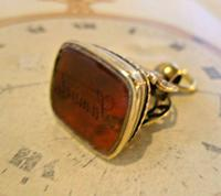 Antique Pocket Watch Chain Fob 1890s Victorian Large Gilt & Carnelian Samuel Fob (4 of 12)