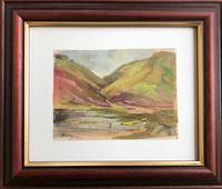 Original gouache painting 'The Hill Loch and fisherman' by Barbara Lady Brassey 1911-2010.Signed. c.1975 (2 of 2)