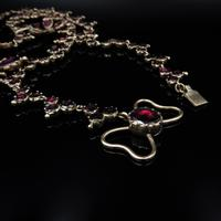 Antique Georgian Flat Cut Garnet 15ct Gold Full Riviere Necklace with Pansy Drops & Cross (7 of 9)