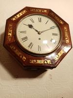 Unusual Rosewood Octagonal Fusee Wall Clock (3 of 5)