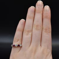 Vintage Ruby & Diamond 18ct 18K Yellow Gold Five Stone Ring (7 of 10)