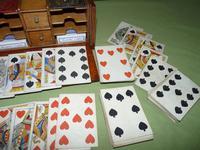 Unusual Oak Games Box - Bezique + Antique Cards + More (15 of 16)