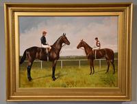 """Oil Painting Pair by Walter Vernon """"Racehorse Scenes"""" (7 of 11)"""