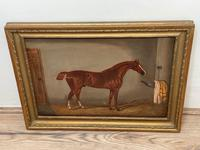 Victorian Oil Painting Chestnut Horse Portrait In Stable Signed Edwin Loder (13 of 42)