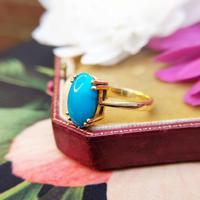 Vintage 18ct Yellow Gold & Turquoise Solitaire Ring (4 of 7)