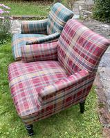 Pair of French Upholstered Armchairs in Tartan (3 of 6)