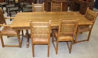 1900's French Oak Refectory Table with Set 6 Oak Chairs +Leather Embossed Seats. (3 of 9)