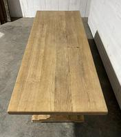 Bleached Oak French Trestle End Farmhouse Dining Table (19 of 28)