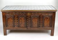 Decorative 17th Century Converted Inlaid Oak Coffer (6 of 7)