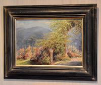Garden scene oil painting by V. Rawlins (4 of 7)