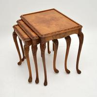 Queen Anne Style Burr Walnut Nest of Tables c.1930 (4 of 9)
