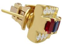 1.38ct Ruby & 0.65ct Sapphire, 0.64ct Diamond & 18ct Yellow Gold Earrings - Vintage c.1990 (4 of 9)