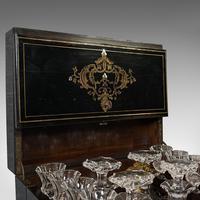 Antique Napoleon III Liquor Cellar, French, Liqueur Box, Glass Decanters, 1830 (5 of 12)