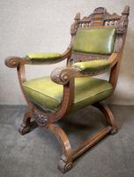 Late Victorian Carved Oak & Leather Armchair (12 of 14)