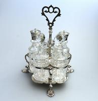A Fine Silver Plate Warwick Type Cut Glass 5 Bottle Cruet C.1863/64 (4 of 9)