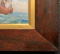 Unusual Original 19thc Seascape watercolour Painting - 11thc Vikings & Longboat (10 of 11)