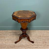 Fine Quality Victorian Figured Walnut Antique Work Box (3 of 9)