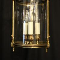 French Gilded Triple Light Convex Hall Lantern (6 of 10)