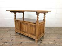 Antique Panelled Pale Oak Monk's Bench (m-2300) (3 of 9)