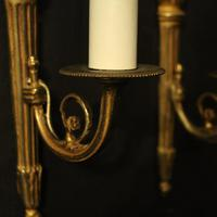 French Pair of Single Gilded Flame Antique Wall Lights (5 of 10)