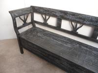 A Funkily Painted Black & Grey Antique/Old Pine Kitchen/Hall Box Settle / Bench (10 of 10)