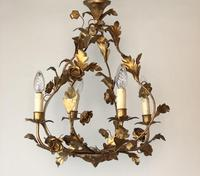 Antique French Birdcage Style Gilt Toleware Ceiling Light Chandelier With Roses (7 of 10)